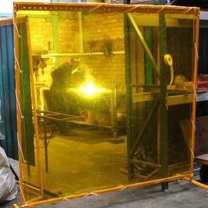 Strip Curtian protection resized images_0001_Yellow welding screen on frame