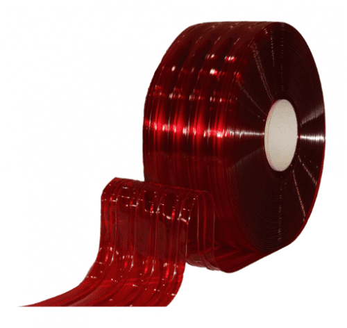Transparent red ribbed